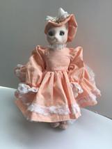 "Vintage Collectors Bunny Rabbit Doll OOAK Handmade 13"" Tall with Display... - $75.00"