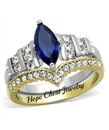 HCJ 2 TONE STAINLESS STEEL BLUE & CLEAR CZ ENGAGEMENT WEDDING RING SET S... - $18.44