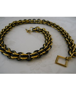 SOLD! Black & Gold Chain Maille Necklace -- Fea... - $80.00