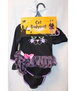 NEW INFANT GIRLS SIZE 6-12 MONTHS BLACK CAT BODYSUIT HALLOWEEN COSTUME OUTFIT - $8.79