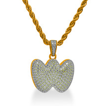 """925 Sterling Silver Gold Plated Custom Iced Out Bubble Letter """"W"""" with 24"""" Chain - $79.99"""