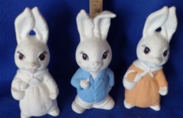 3 standing rabbits-7 inches tall- partially painted Ceramic Bisque - $7.70