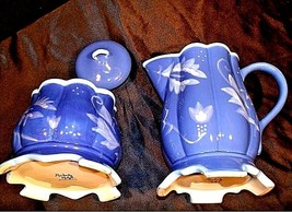 Kimberly Hodges Blue Pitcher and Container with Lid AA18-1254 Vintage Hallmark I image 2