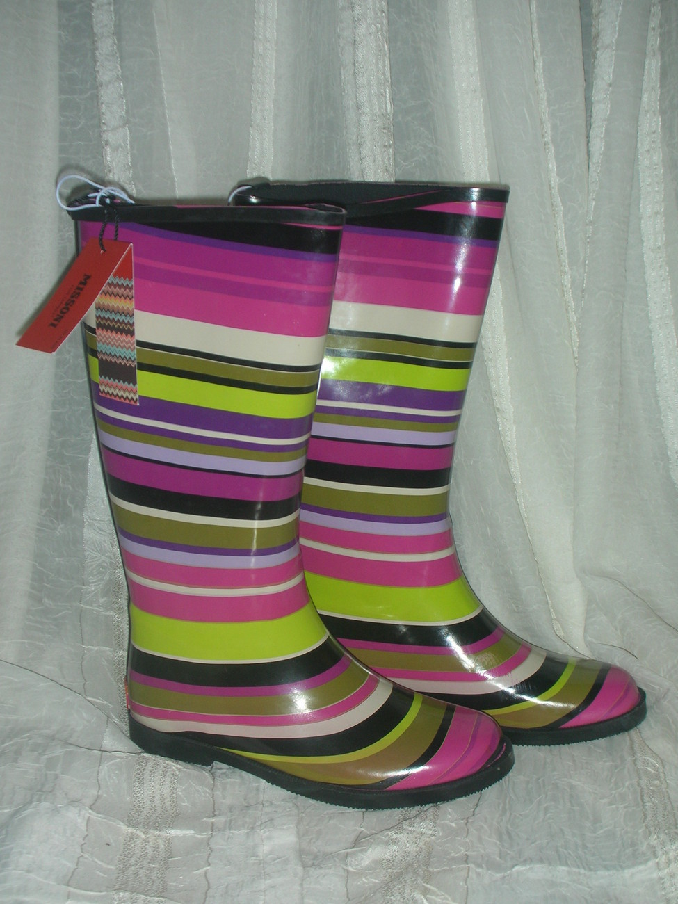 Missoni for target girls magenta strips rainboots  4