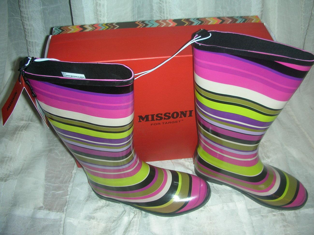 Missoni for Target Magenta Stripe Girls Rain Boot  size 3