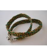 Flat Kumihimo Wrap Bracelet, Earth Tones -- Gre... - $25.00