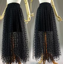 Black Polka Dot Tulle Skirt Black Long Tulle Skirt Outfit High Waisted image 3