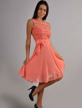 Coral Cocktail Dress Autumn guipure dress Bridesmaid Wedding Dress with ... - $92.50