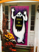 Spooky Ghost-TRICK or TREAT-DOOR COVER MURAL Halloween Party Prop Decora... - $3.93