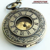 Men Vintage Pocket Retro Antique Watches with Chain Necklace Roman Steam... - $24.24