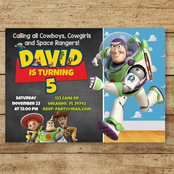 Toy Story Digital Invitation, Woody Buzz Lightyear Invitation