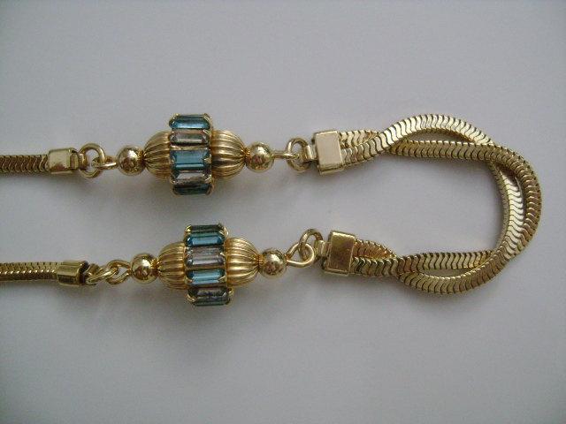 Carl Art 1/20 12 KT GF w/ Aquamarine & Clear Rhinestone Accents Choker Necklace