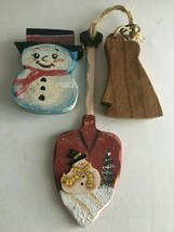 "Vintage Wooden Christmas Ornaments Wood Painted Lot of 3    8"" 4"" 4""  - $11.63"
