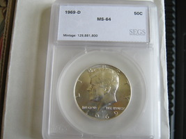Kennedy Half Dollar , 1969-D , MS-64 , SEGS Certified  - $19.00