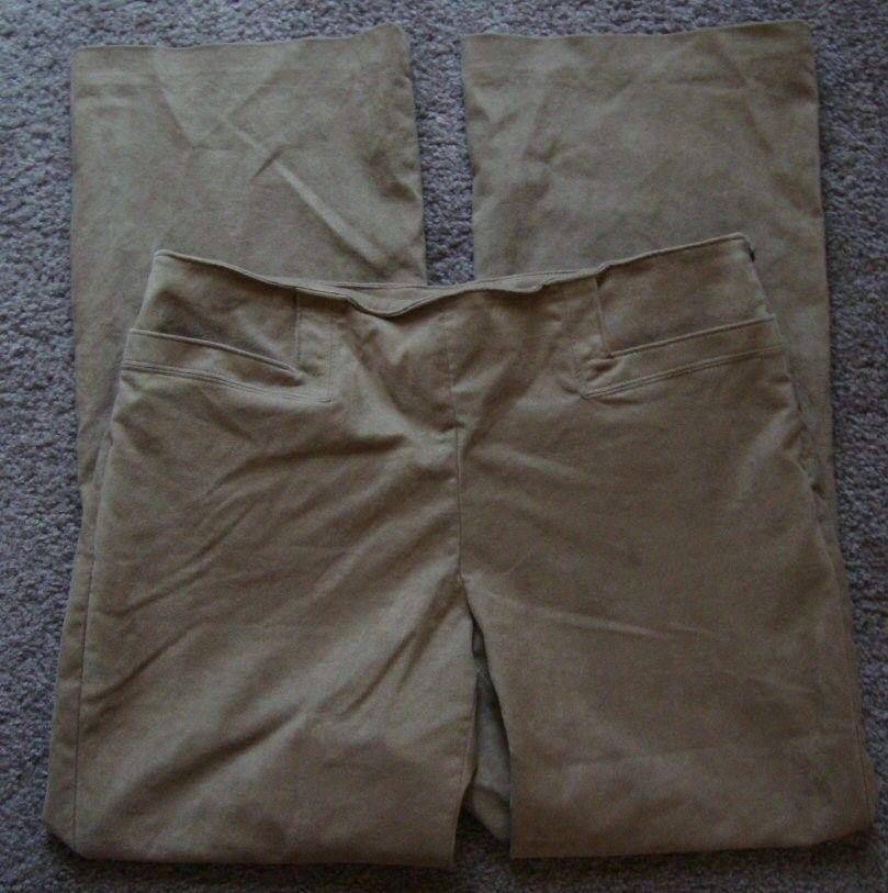 """Liz Claiborne """"Michaela""""  Dk Tan Suede feel  Microfiber Pants Sz. 10P"""