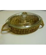 Jeanette Glasbake Clear Glass Oval 1 QT Casserole J235 in Basket New Old... - $29.45