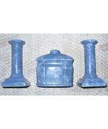 Blue Ceramic Table Set (Marbelized) Candle Holders , Napkin Holder - $6.50