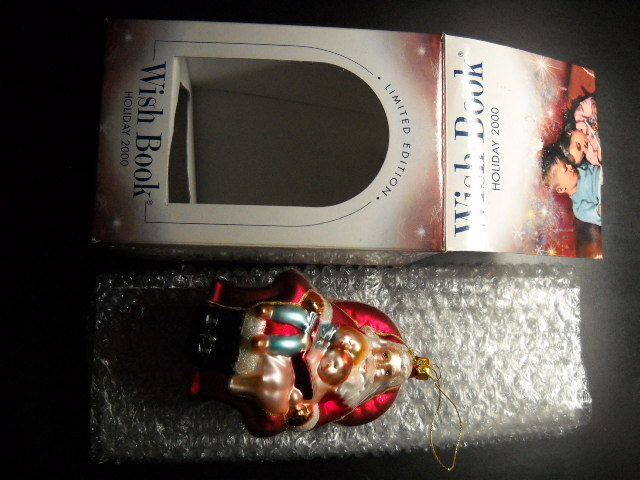 Sears Wish Book Christmas Ornament 2000 Santa Reads 1955 Wish Book to Kids Box
