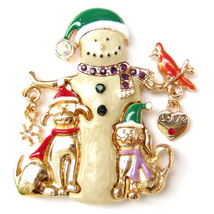 Snowman Dog Cat Bird Snowflake Heart Crystal Xmas Green Red Gold Brooch ... - $10.99