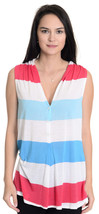 Sz S Ella Moss Red/White/ Blue Striped Sleeveless Button Up Thin Jersey ... - $21.03