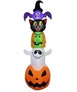 8 Foot Halloween Inflatable Stacked Bat, Black Cat, Witch, Ghost, And P... - £95.17 GBP