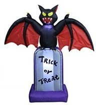 5 Foot Tall Halloween Inflatable Black Bat On Tombstone Decoration - $86.35