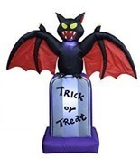 5 Foot Tall Halloween Inflatable Black Bat On Tombstone Decoration - $1.785,14 MXN