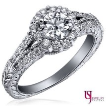 1.04 (0.51) Ct F-SI2 Vintage Halo Round Diamond Engagement Ring 14K Whit... - €1.475,31 EUR
