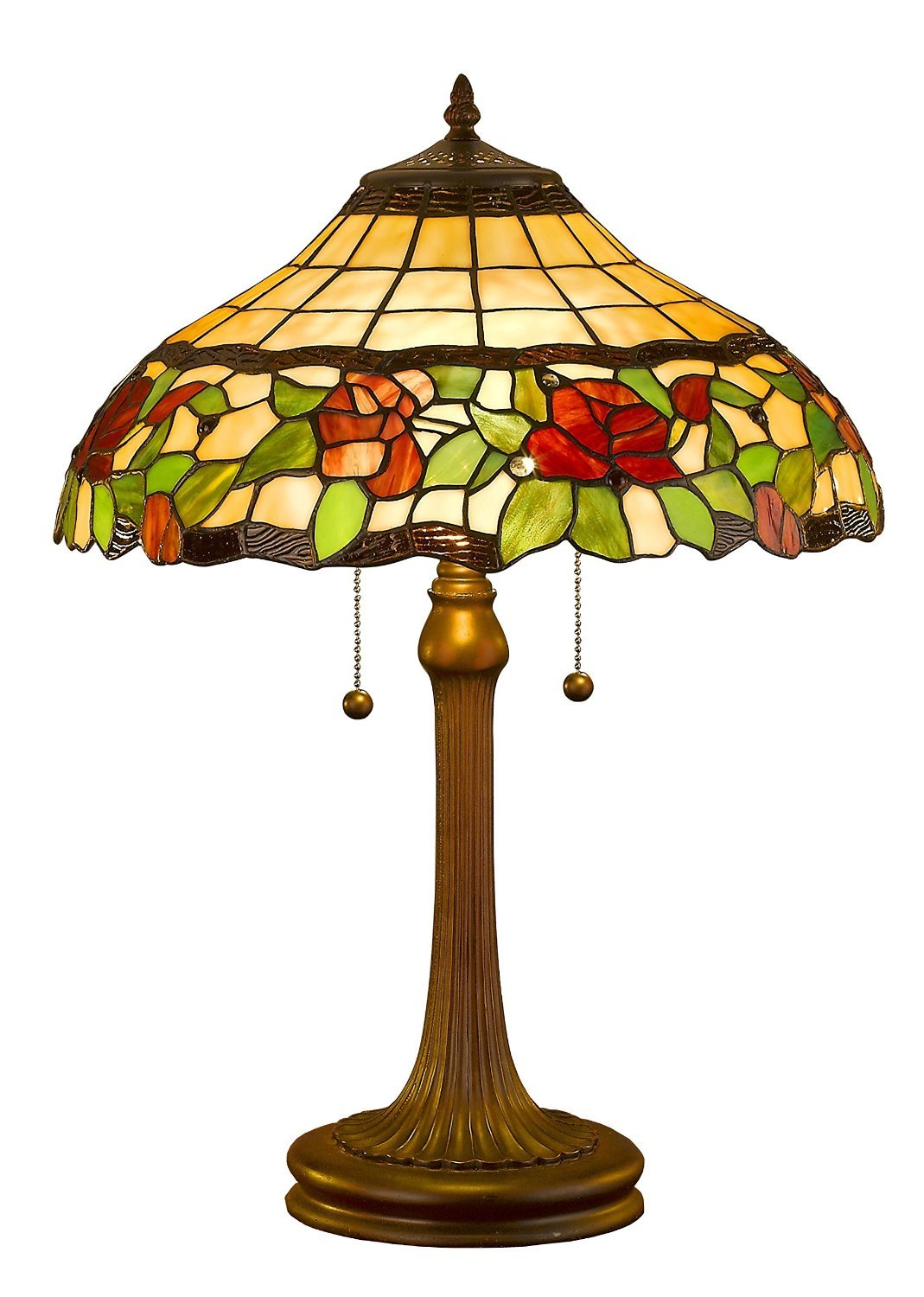 TIFFANY STYLE HAND-CRAFTED FLORAL TABLE LAMP, 23-INCH