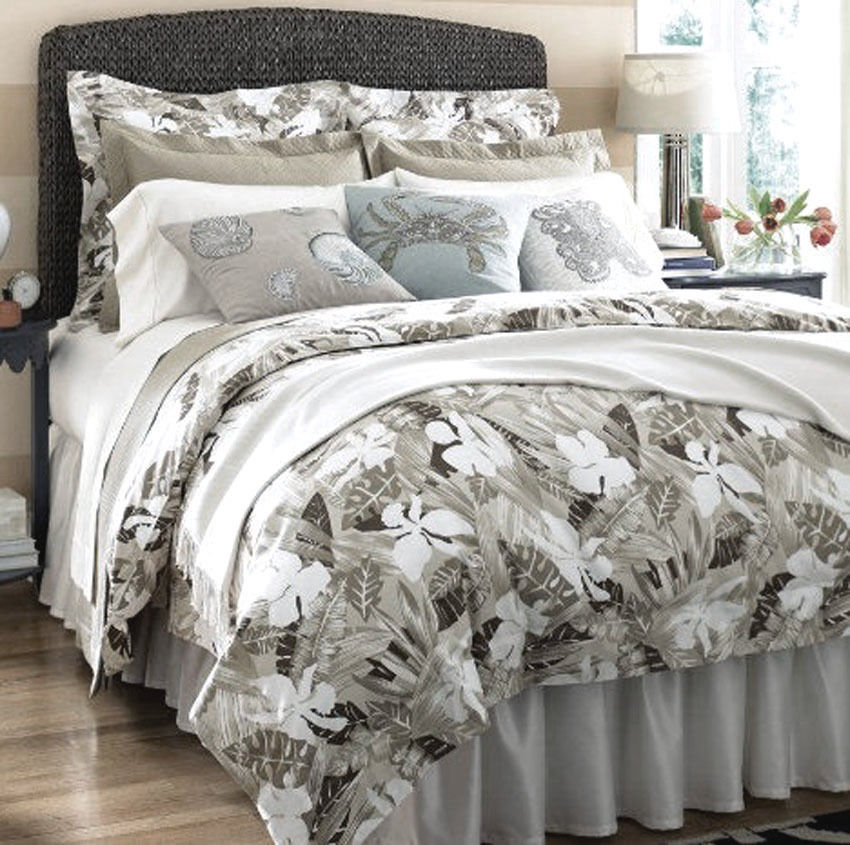 Sferra MALLORY Queen Duvet Cover 4PC 300TC Cotton Taupe Brown Tropical Print New