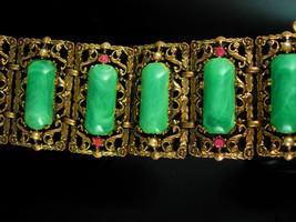 Antique HUGE bracelet Vintage green galalith Big Suffragette Purple rhin... - $395.00
