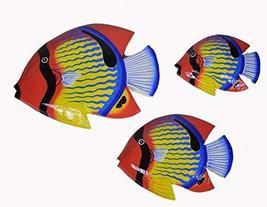 Beautiful Unique Set of 3 BLUE STRIPED Dory Nemo Fish Wood Hanging Wall Art - $35.58