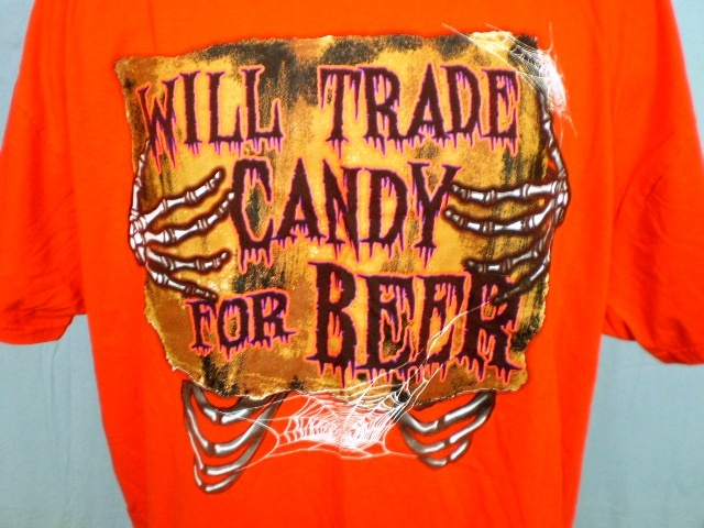 Orange 3xl halloween t shirt will trade candy for beer by jerzees cotton 2