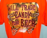 Orange 3xl halloween t shirt will trade candy for beer by jerzees cotton 2 thumb155 crop