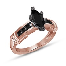 Marquise Cut Diamond Rose Gold Finish 925 Sterling Silver Womens Engagem... - $62.99