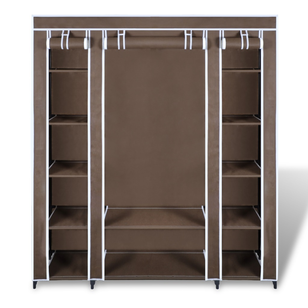 Brown Portable Closet Fabric Cabinet Storage Organizer