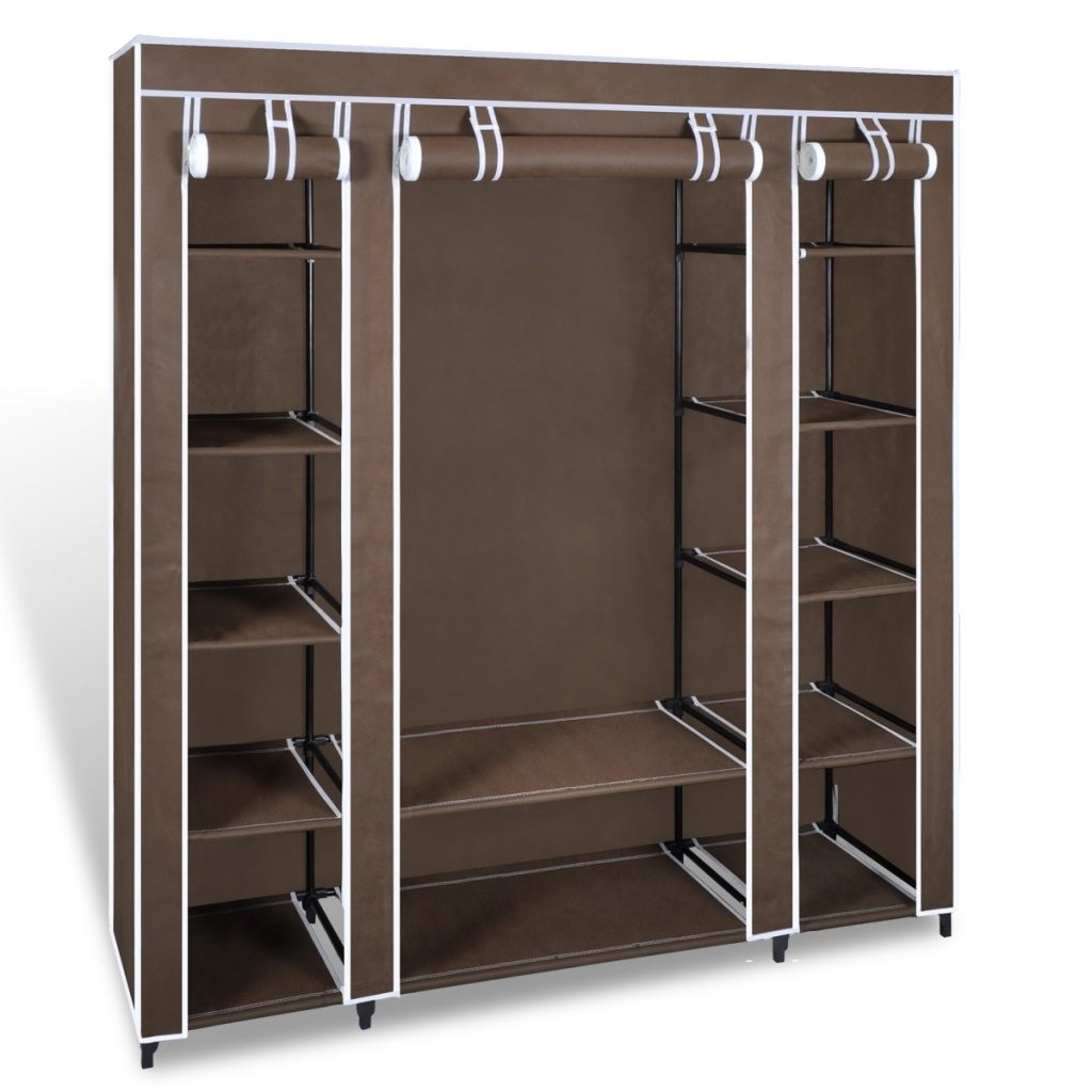 Brown portable closet fabric cabinet storage organizer for Kitchen closet