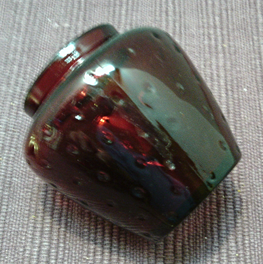 Vintage AVON Red STRAWBERRY Glass Jam/Jelly Jar with Metal LId and Spoon