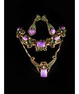 Antique HUGE Parure bracelet Purple galalith earrings Necklace Suffragette - $575.00