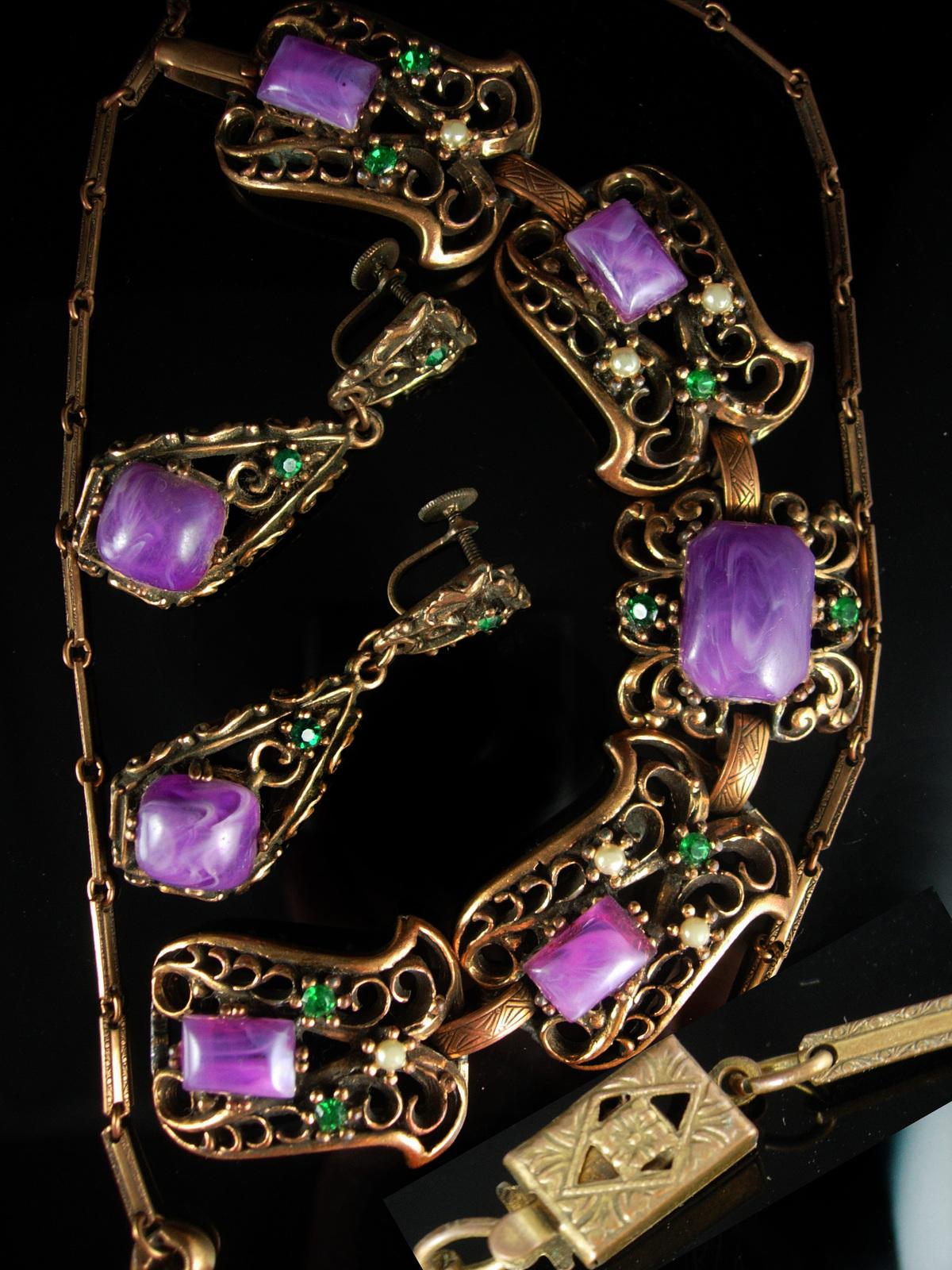 Antique HUGE Parure bracelet Purple galalith earrings Necklace Suffragette