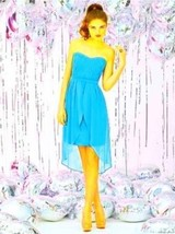 Dessy 8120......Cocktail Length, Strapless Dress....Turquoise....Size 6 - $39.59