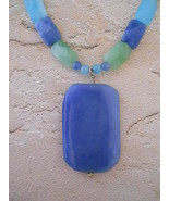 Blue, Green & Aqua Quartz Necklace, Sterling Silver, Hand Crafted OOAK - $40.00
