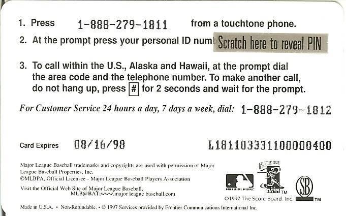 ken griffey jr seattle mariners 1997 phone card  not used