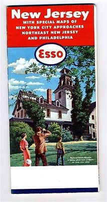 ESSO Map of New Jersey  New York City Approaches 1958 Batsto Mansion