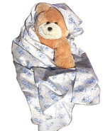 Bear Blue Flannel Baby Blanket, handmade newbor... - $12.95