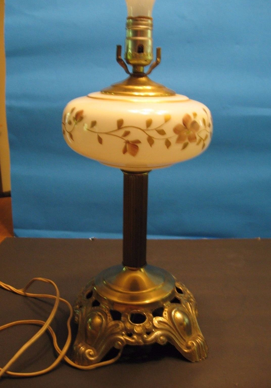 unique electric hand painted milk glass lamp w o shade