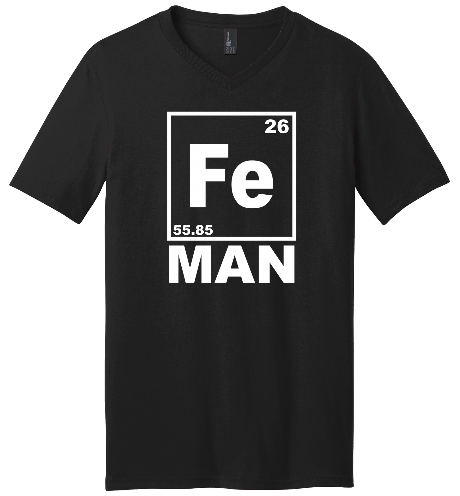 Fe Man Funny T Shirt Iron Man Chemistry Periodic Table Elements Mens V-Neck Tee for sale  USA