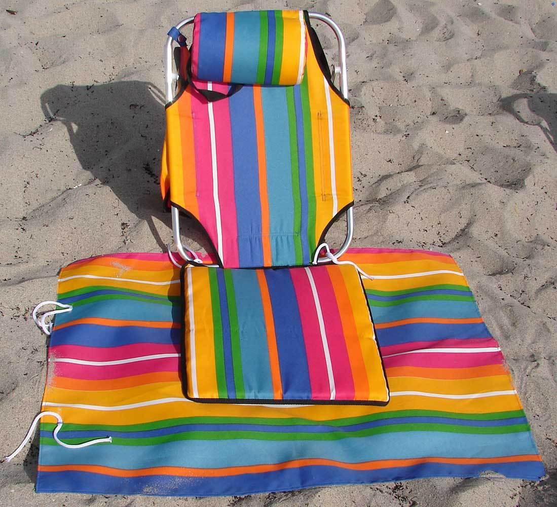 Portable Backpack Beach Chair W Lounger Mat Pouch Light