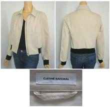 Costume National Beige & Black Double Zip Bomber Jacket Size 44/ 8 - $62.00