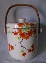 Vintage Biscuit Cookie Jar LG Hand Painted Orange Green Flowers Moriyama... - $69.98